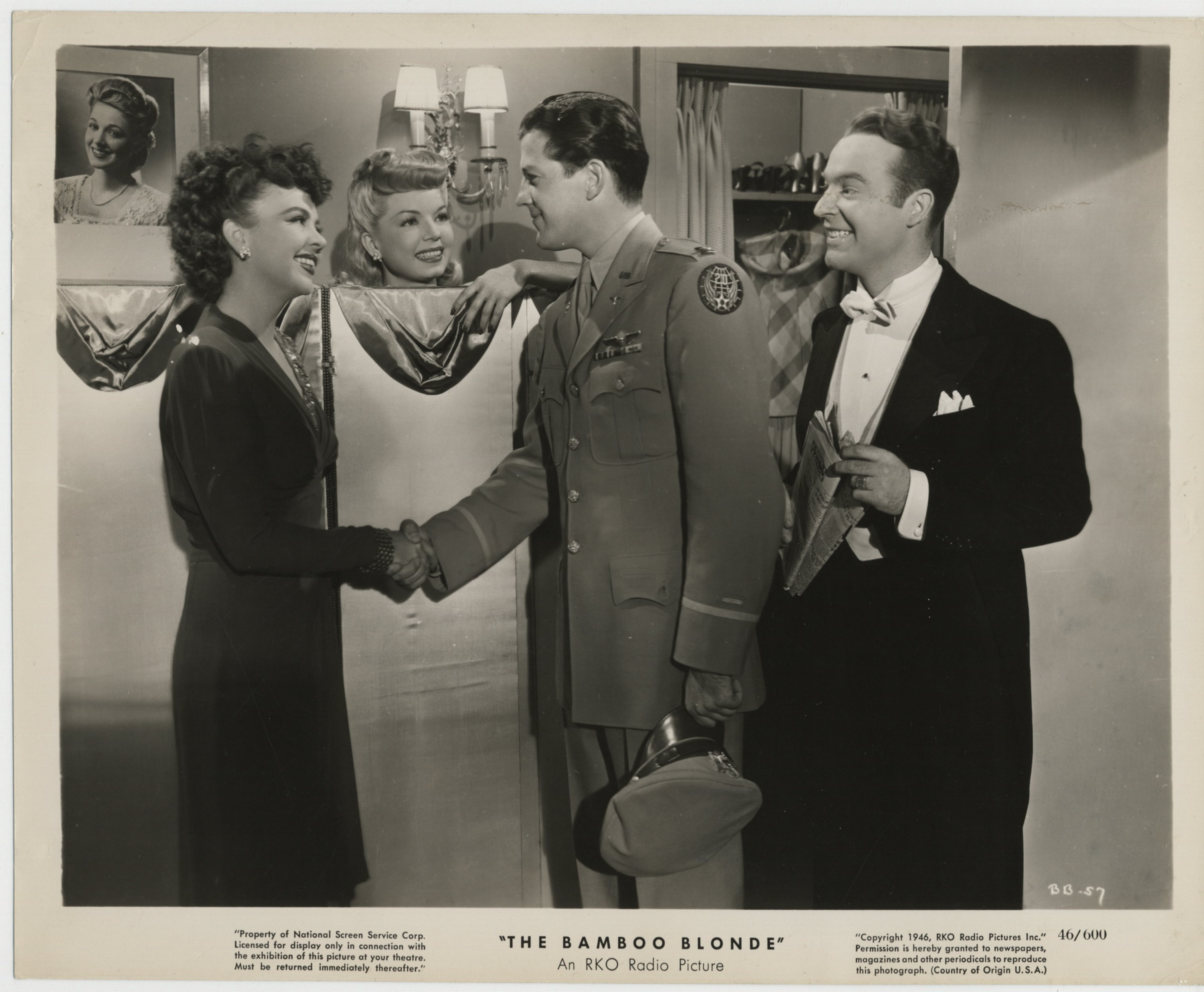Iris Adrian, Ralph Edwards, Frances Langford, and Russell Wade in The Bamboo Blonde (1946)