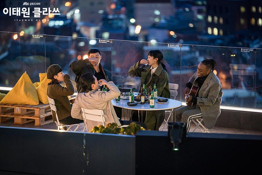 Chris Lyon, Ryu Kyung-Soo, Park Seo-Joon, Lee Joo-Young, and Kim Da-Mi in Itaewon Class (2020)