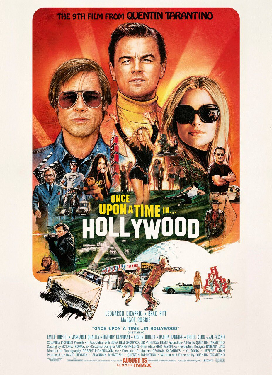 Brad Pitt, Leonardo DiCaprio, Al Pacino, Kurt Russell, Timothy Olyphant, Mike Moh, Margot Robbie, Margaret Qualley, and Julia Butters in Once Upon a Time... in Hollywood (2019)