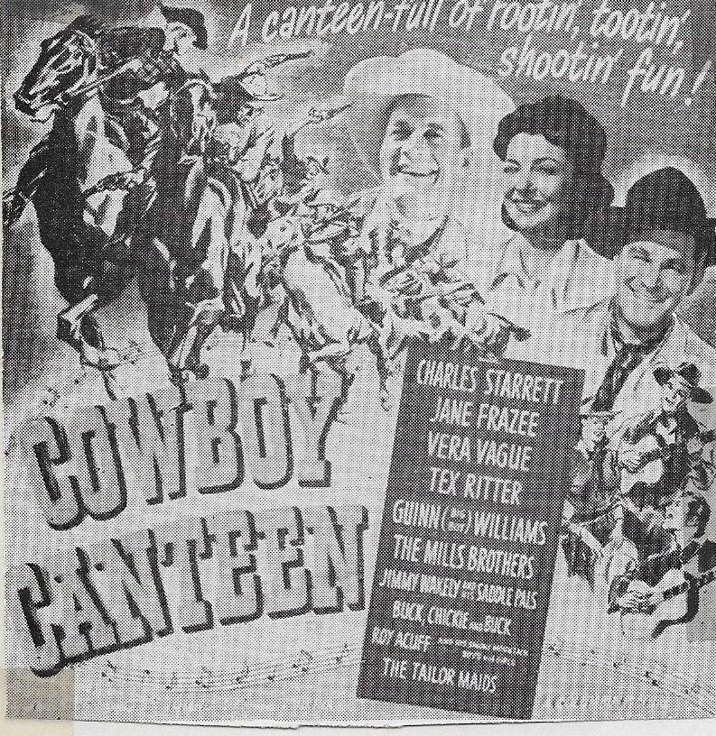 Barbara Jo Allen, Charles Starrett, and Guinn 'Big Boy' Williams in Cowboy Canteen (1944)