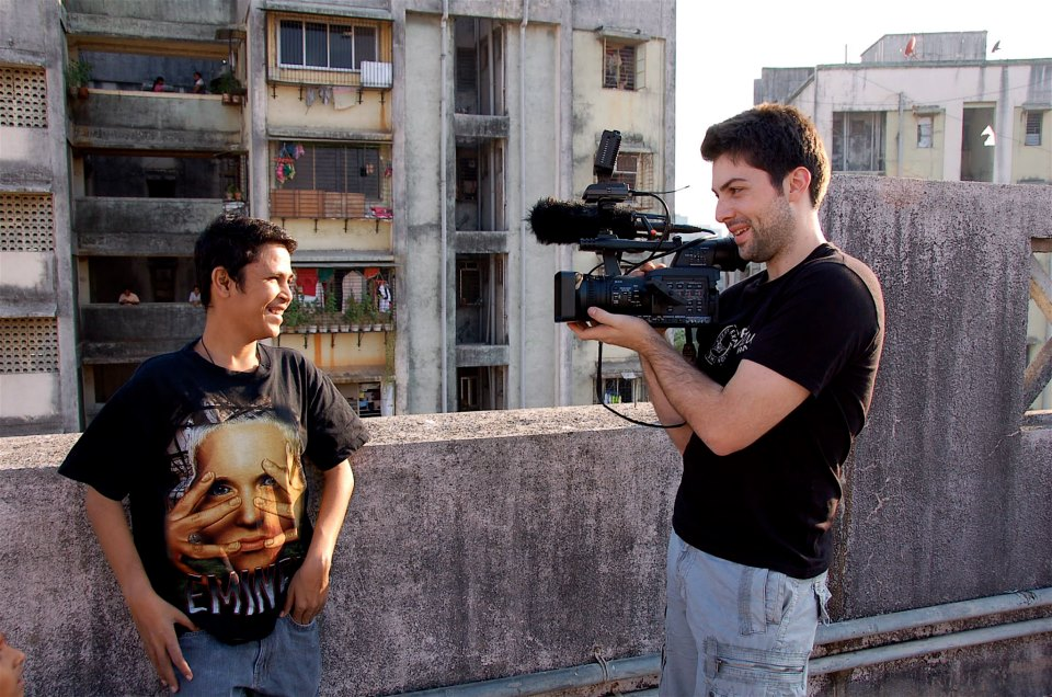 Mark Ratzlaff and Imran Mohammad in Mumbai, India, shooting the feature documentary Blood Relative.