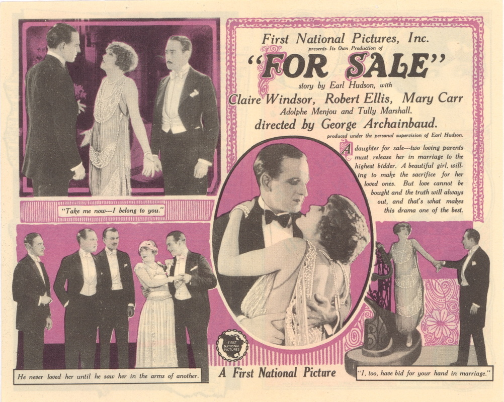 Robert Ellis, Tully Marshall, Adolphe Menjou, John Patrick, and Claire Windsor in For Sale (1924)