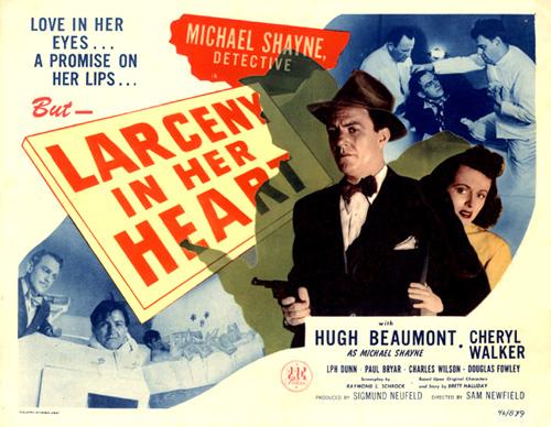 Hugh Beaumont, Douglas Fowley, and Cheryl Walker in Larceny in Her Heart (1946)