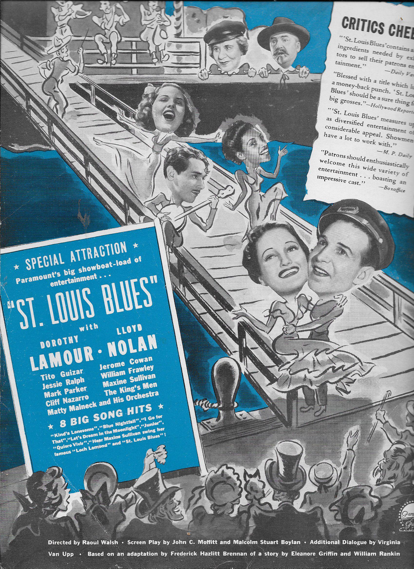 William Frawley, Tito Guízar, Dorothy Lamour, Lloyd Nolan, Mary Parker, Jessie Ralph, and Maxine Sullivan in St. Louis Blues (1939)