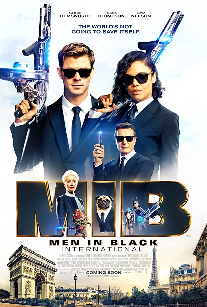 Liam Neeson, Emma Thompson, Tim Blaney, Chris Hemsworth, Tessa Thompson, and Kumail Nanjiani in Men in Black: International (2019)
