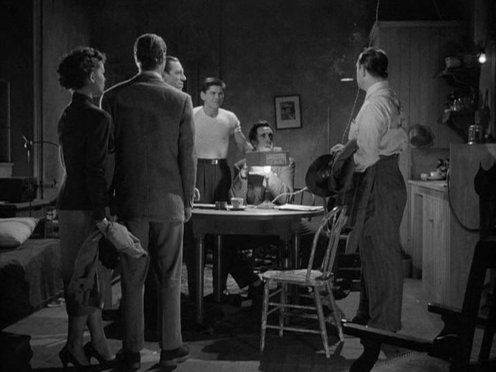 Charles Bronson, Timothy Carey, Ted de Corsia, Phyllis Kirk, and Gene Nelson in Crime Wave (1953)