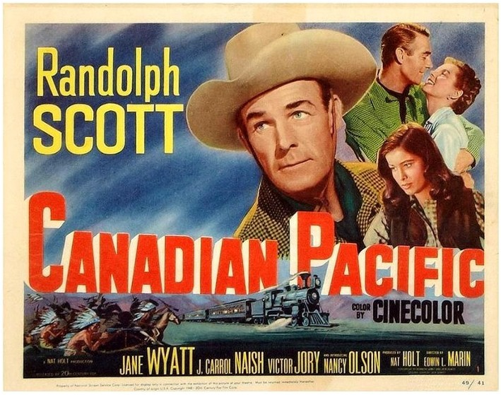 Randolph Scott, Nancy Olson, and Jane Wyatt in Canadian Pacific (1949)
