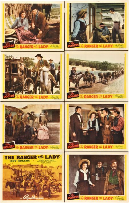 Roy Rogers, Julie Bishop, Henry Brandon, Fred Burns, George 'Gabby' Hayes, Si Jenks, Noble Johnson, and Harry Woods in The Ranger and the Lady (1940)