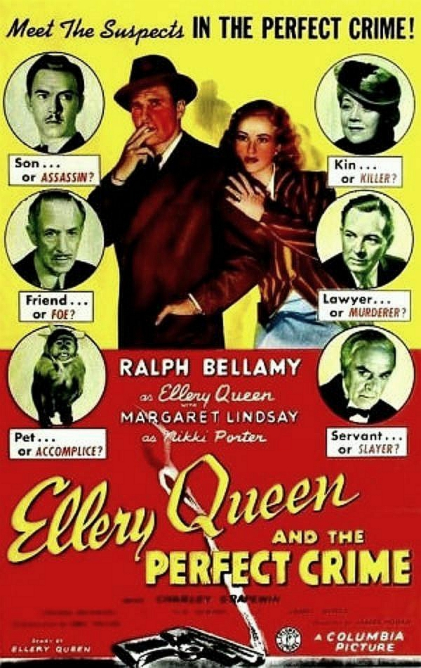 Ralph Bellamy, Spring Byington, John Beal, Sidney Blackmer, Walter Kingsford, Margaret Lindsay, and H.B. Warner in Ellery Queen and the Perfect Crime (1941)
