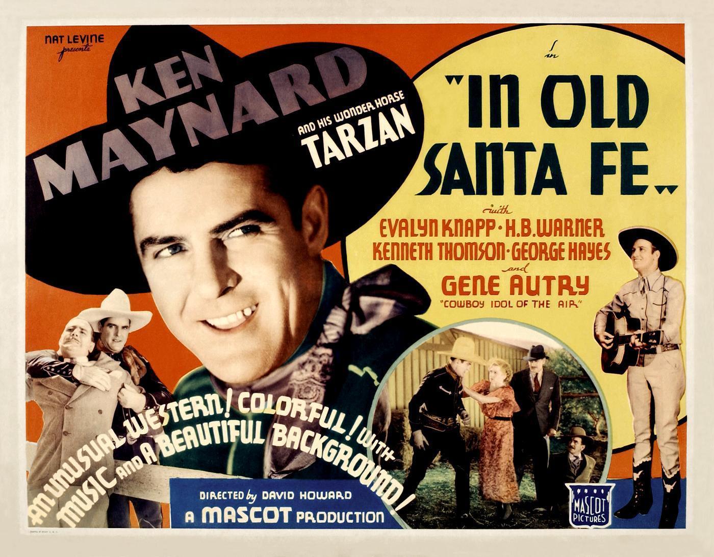 Gene Autry, Evalyn Knapp, Ken Maynard, Wheeler Oakman, and Kenneth Thomson in In Old Santa Fe (1934)