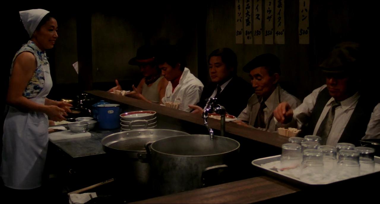 Yoshi Katô, Nobuko Miyamoto, Kinzô Sakura, Ken Watanabe, Tsutomu Yamazaki, and Rikiya Yasuoka in Tampopo (1985)