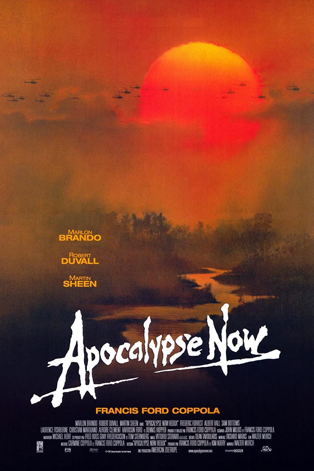 Apocalypse Now: Directed by Francis Ford Coppola. With Marlon Brando, Martin Sheen, Robert Duvall, Frederic Forrest. A U.S. Army officer serving in Vietnam is tasked with assassinating a renegade Special Forces Colonel who sees himself as a god.