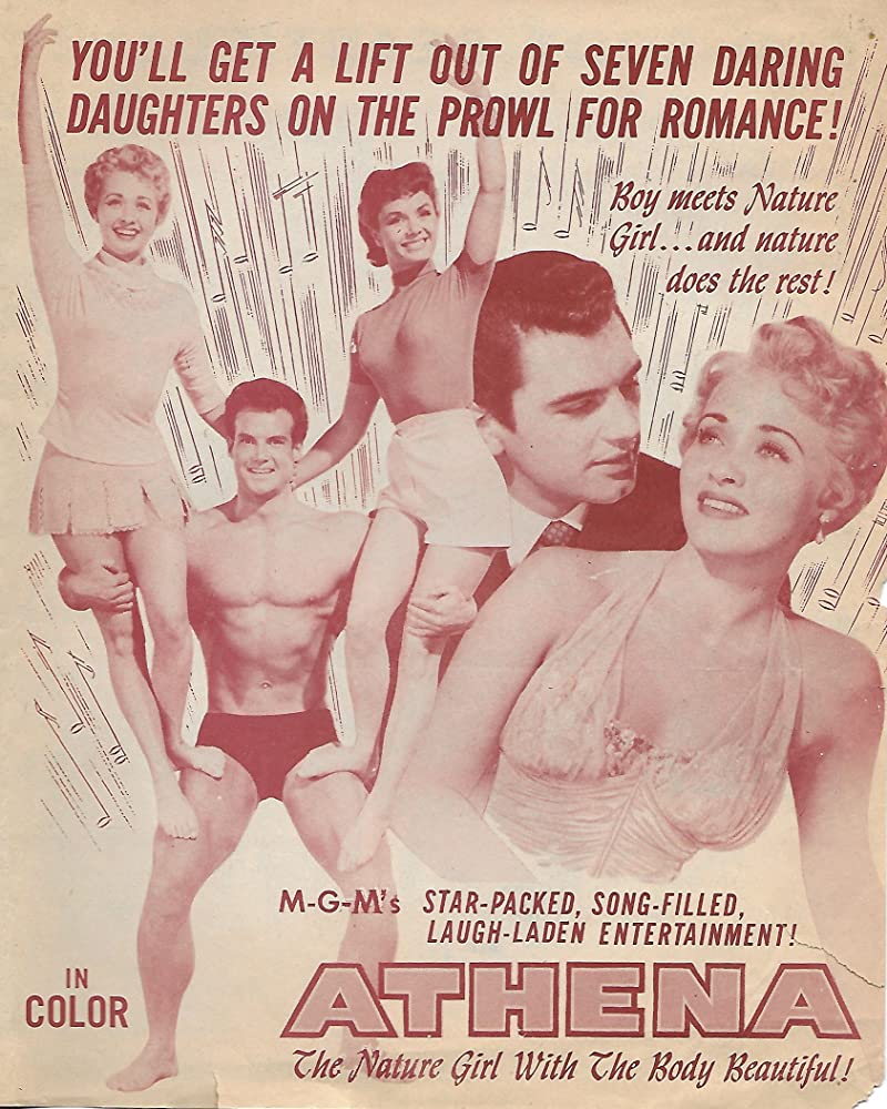 Debbie Reynolds, Jane Powell, Edmund Purdom, and Steve Reeves in Athena (1954)