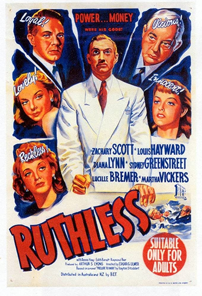 Sydney Greenstreet, Lucille Bremer, Louis Hayward, Diana Lynn, Zachary Scott, and Martha Vickers in Ruthless (1948)
