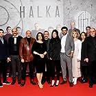 Melih Çardak, Nazan Kesal, Ahmet Mümtaz Taylan, Funda Ilhan, Umut Karadag, Serhat Midyat, Serkan Çayoglu, Kaan Yildirim, Hazal Subasi, and Dilan Telkok at an event for Halka (2019)