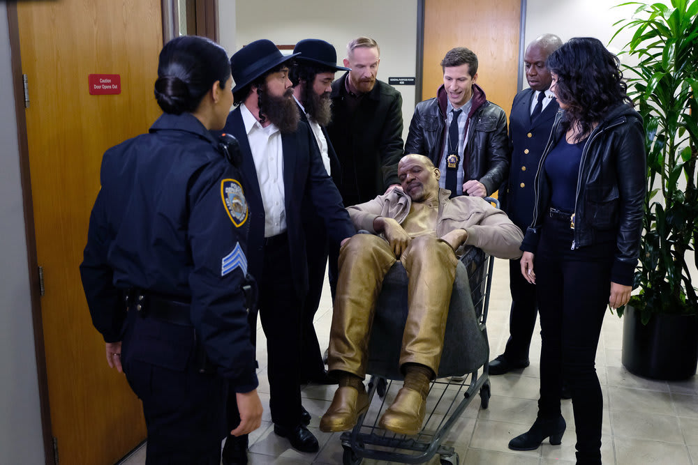 Andre Braugher, Terry Crews, Melissa Fumero, Joe Lo Truglio, Marc Evan Jackson, and Andy Samberg in Brooklyn Nine-Nine (2013)