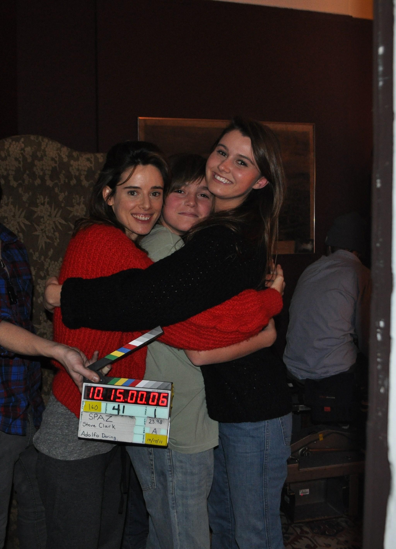 Pilar López de Ayala, Spencer List and Courtney Baxter on the set of SPAZ