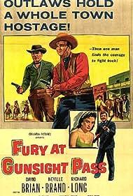 Neville Brand, David Brian, Lisa Davis, and Richard Long in Fury at Gunsight Pass (1956)