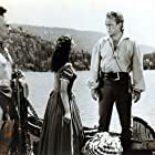 Lex Barker, Cathy O'Donnell, Carlos Rivas, and Forrest Tucker in The Deerslayer (1957)