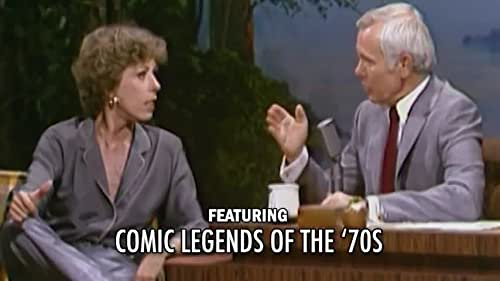 Host Johnny Carson performs comedy routines and chats with various celebrities.