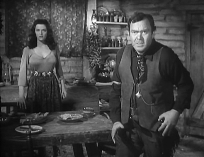 Jane Russell and Thomas Mitchell in The Outlaw (1943)
