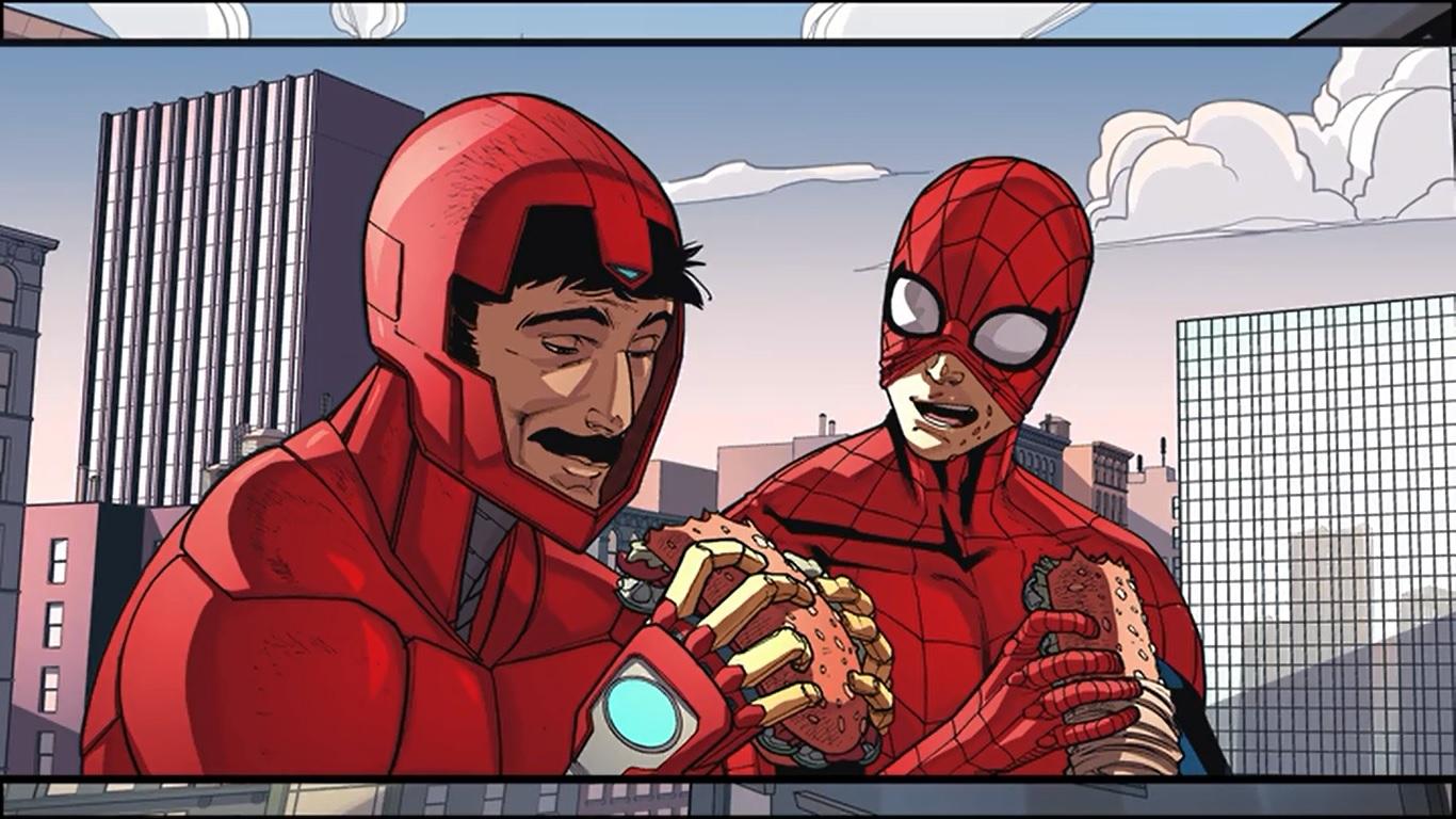 Homem-Aranha junto de Tony Stark (Marvel)