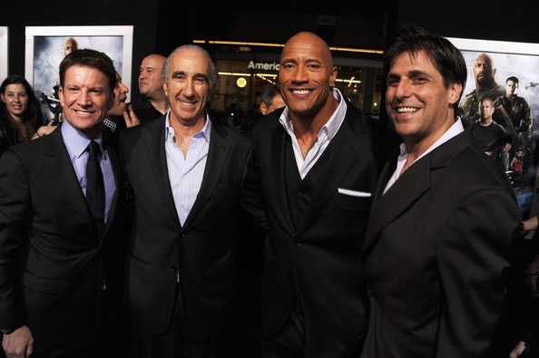 """(L-R) Hasbro CEO/Producer Brian Goldner, executive producer Gary Barber, actor Dwayne Johnson and President of MGM Jonathan Glickman attend the premiere of Paramount Pictures' """"G.I. Joe:Retaliation"""" at TCL Chinese Theatre on March 28, 2013 in Hollywood, California."""