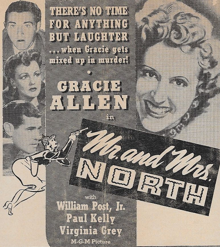 Gracie Allen, Virginia Grey, Paul Kelly, and William Post Jr. in Mr. and Mrs. North (1942)