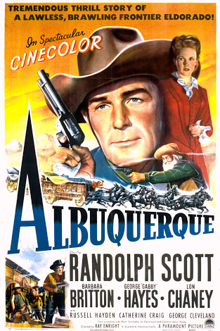 Randolph Scott, Barbara Britton, and George 'Gabby' Hayes in Albuquerque (1948)