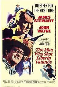 James Stewart, John Wayne, Lee Marvin, Andy Devine, Vera Miles, and Edmond O'Brien in The Man Who Shot Liberty Valance (1962)