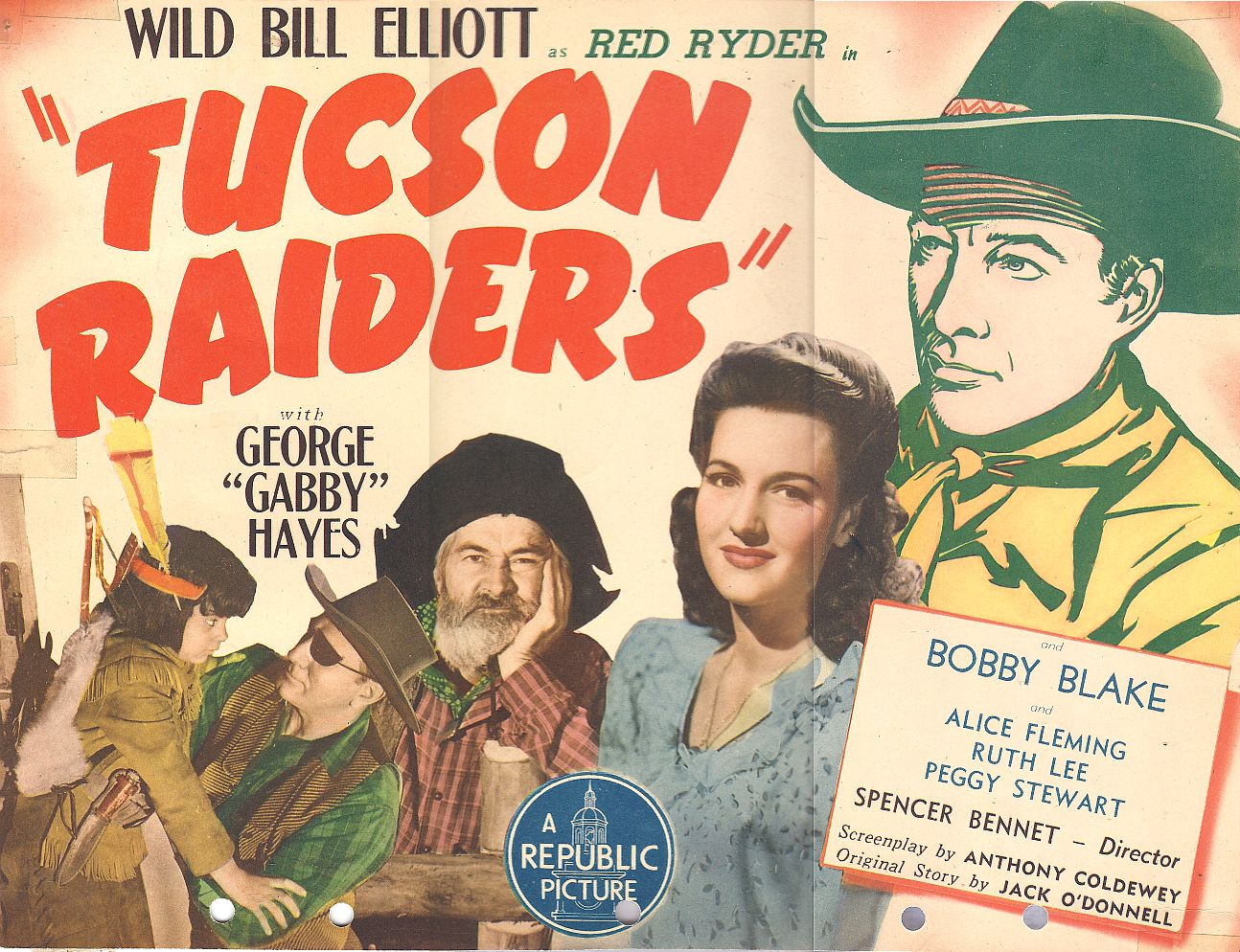 Robert Blake, Bill Elliott, Bud Geary, George 'Gabby' Hayes, and Peggy Stewart in Tucson Raiders (1944)