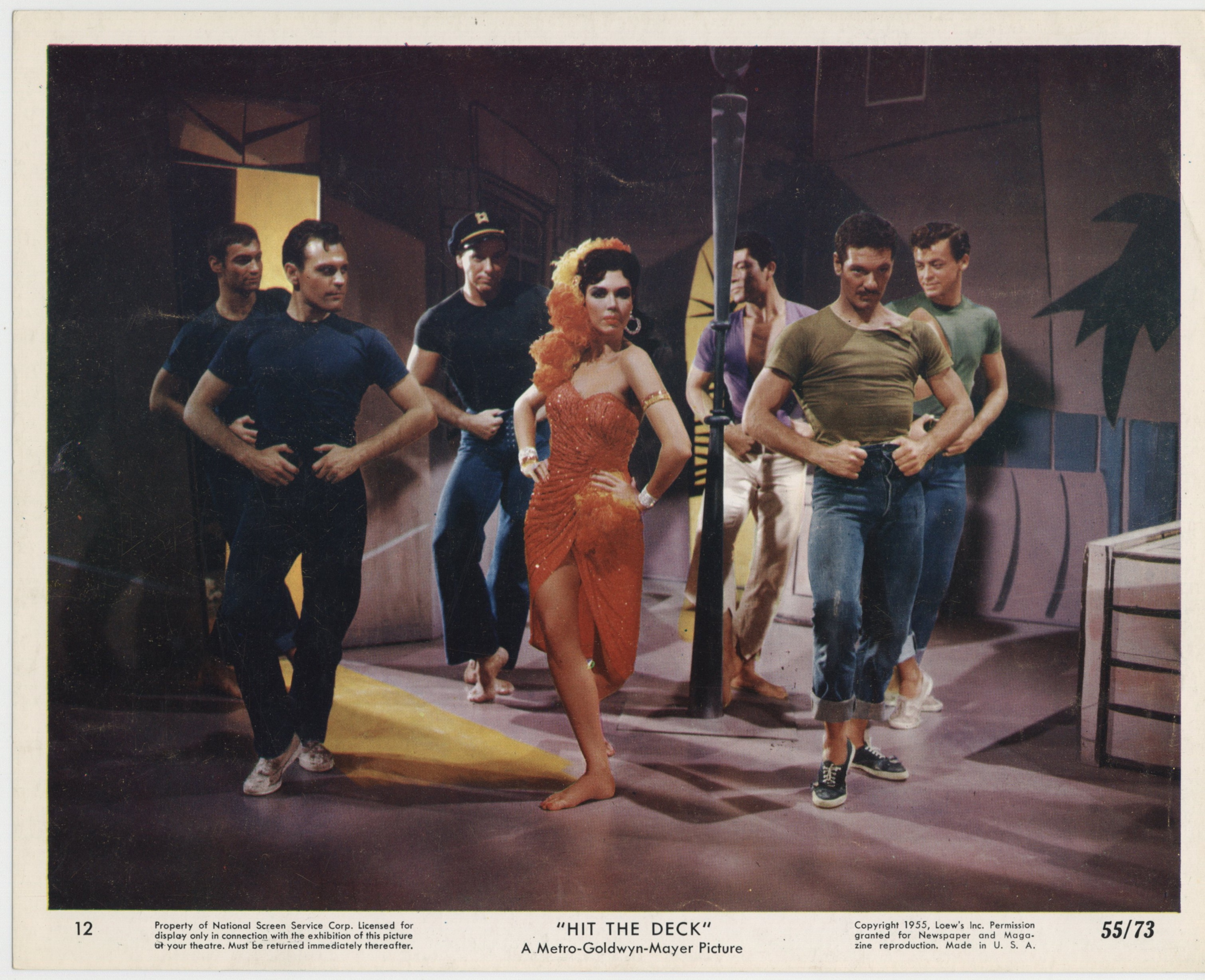Buddy Bryan, Bert May, Arthur Mendez, Ann Miller, Frank Radcliffe, and Roy Palmer in Hit the Deck (1955)