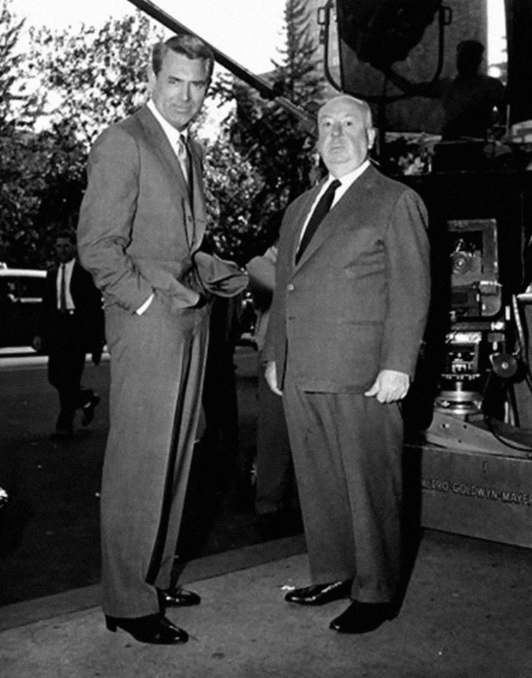 Cary Grant and Alfred Hitchcock in North by Northwest 1959