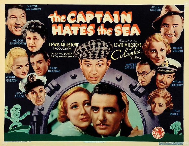 Tala Birell, Walter Catlett, Walter Connolly, Leon Errol, Wynne Gibson, John Gilbert, Fred Keating, Victor McLaglen, Alison Skipworth, and Helen Vinson in The Captain Hates the Sea (1934)