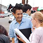 """Director Jeffrey Gee Chin consulting with Script Supervisor Elissa Tedeso on """"Lil Tokyo Reporter"""""""
