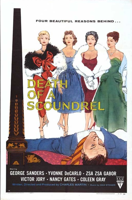 Yvonne De Carlo, Zsa Zsa Gabor, Nancy Gates, and Coleen Gray in Death of a Scoundrel (1956)