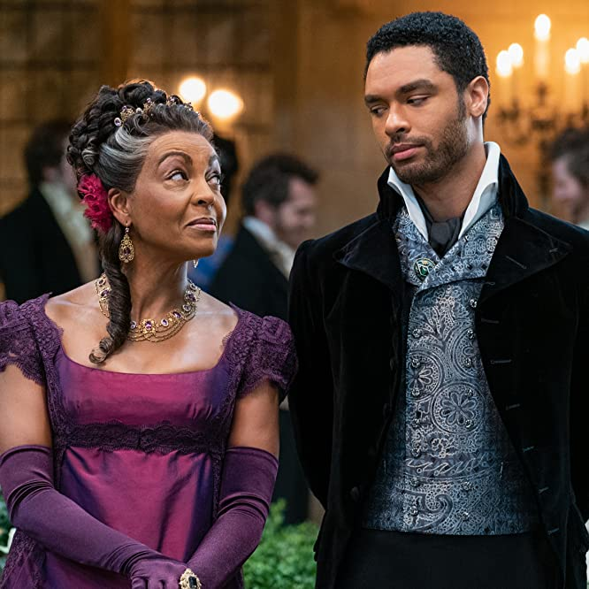Adjoa Andoh and Regé-Jean Page in Bridgerton (2020)