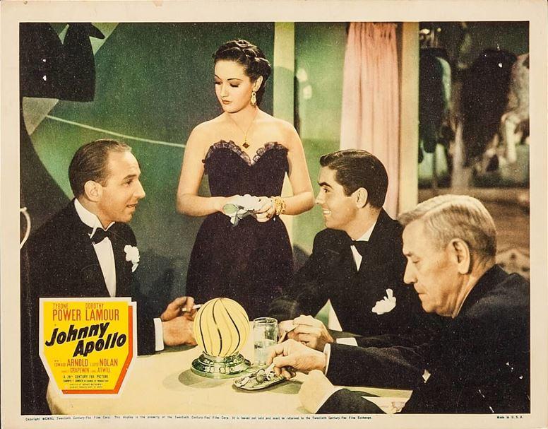 Tyrone Power, Charley Grapewin, Dorothy Lamour, and Lloyd Nolan in Johnny Apollo (1940)