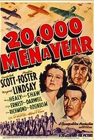 Randolph Scott, Preston Foster, and Margaret Lindsay in 20,000 Men a Year (1939)