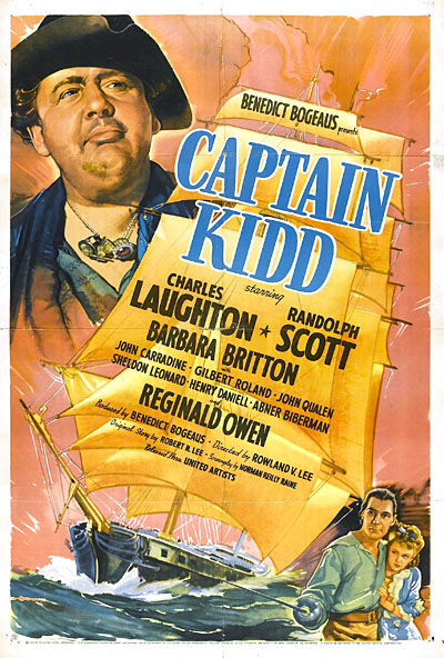Randolph Scott, Charles Laughton, and Barbara Britton in Captain Kidd (1945)