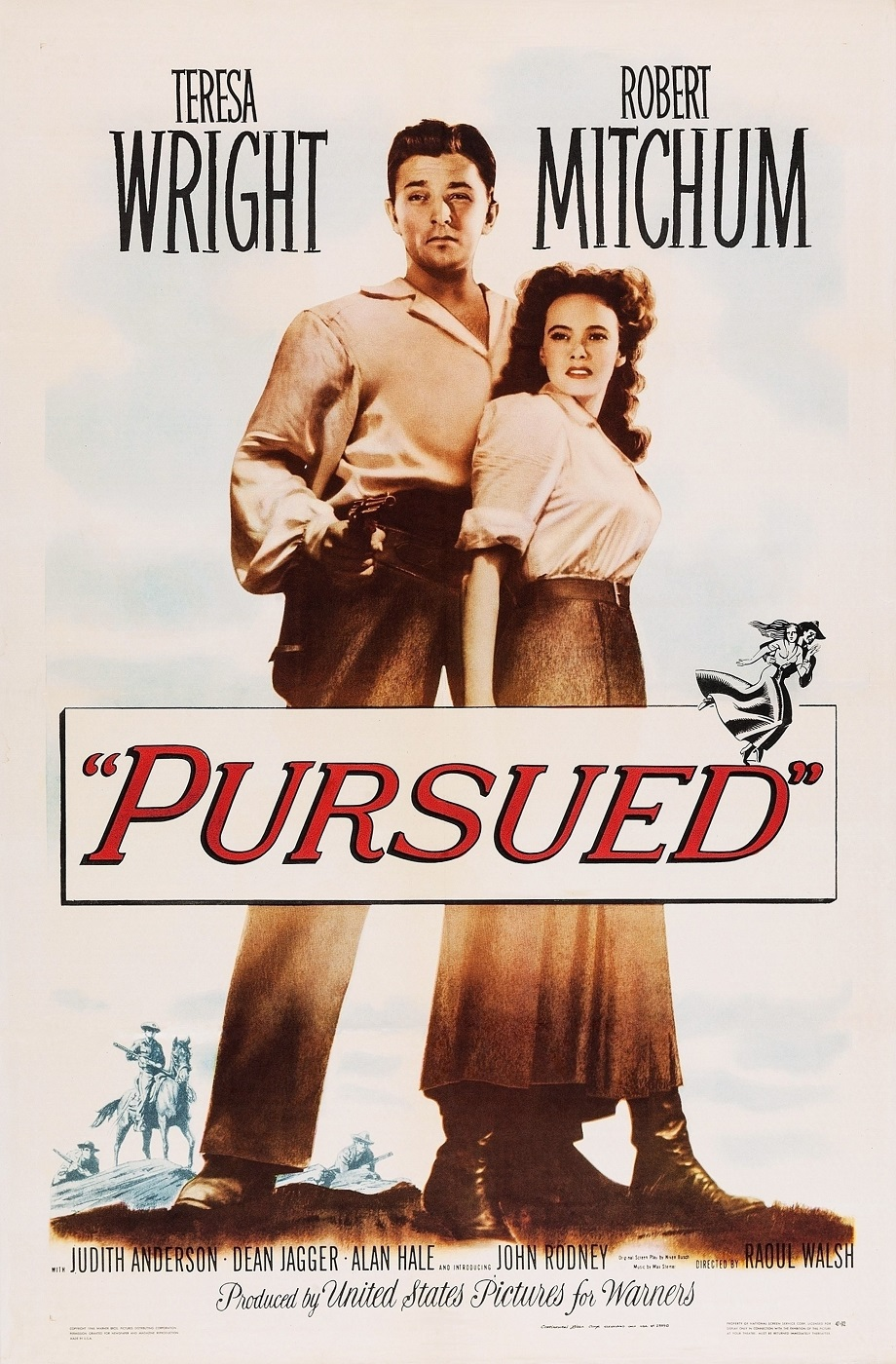 Robert Mitchum and Teresa Wright in Pursued (1947)