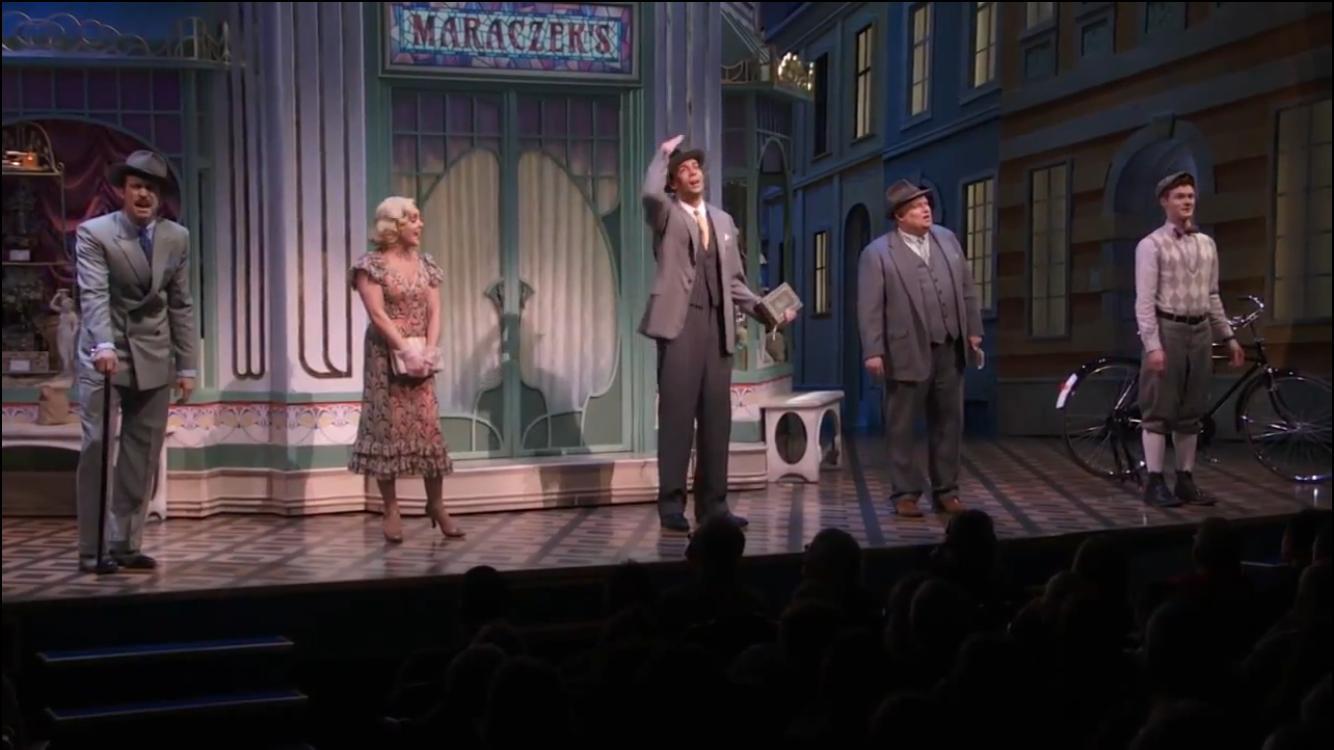 Jane Krakowski, Zachary Levi, Gavin Creel, and Nicholas Barasch in She Loves Me (2016)