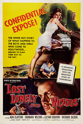 Ken Clayton and Barbara Wilson in Lost, Lonely and Vicious (1958)