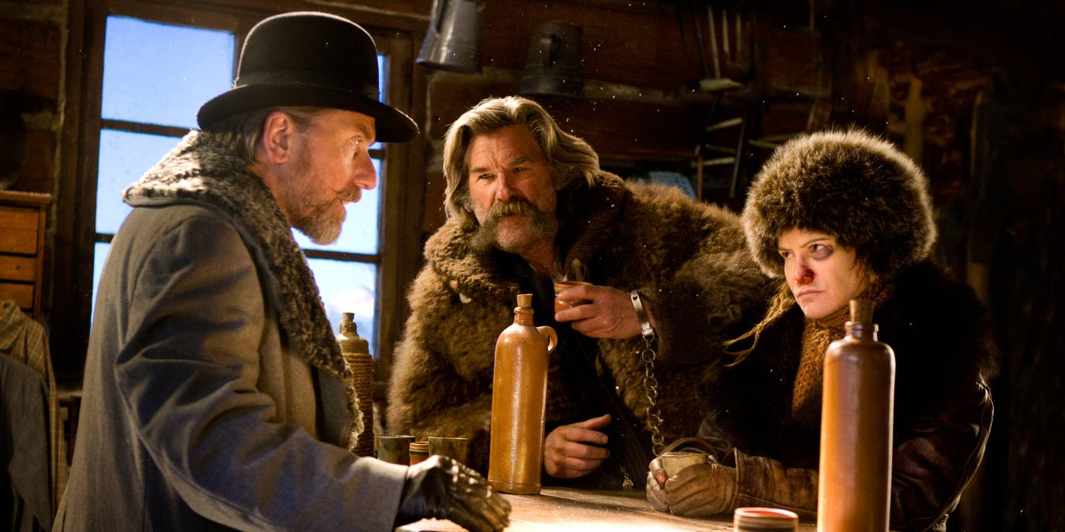 Jennifer Jason Leigh, Tim Roth, and Kurt Russell in The Hateful Eight (2015)
