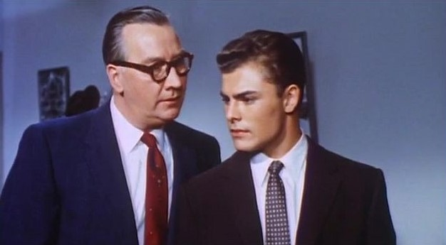 Edward Andrews and John Saxon in The Unguarded Moment (1956)