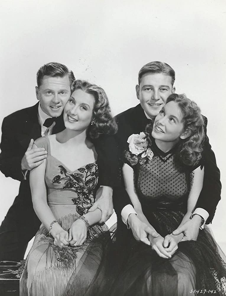 Janet Leigh, Mickey Rooney, Tom Drake, and Betty Garrett in Words and Music (1948)