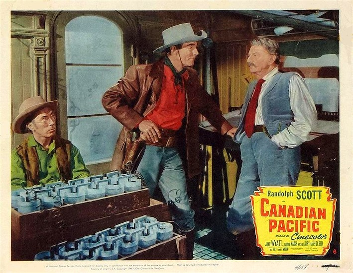 Randolph Scott and Robert Barrat in Canadian Pacific (1949)
