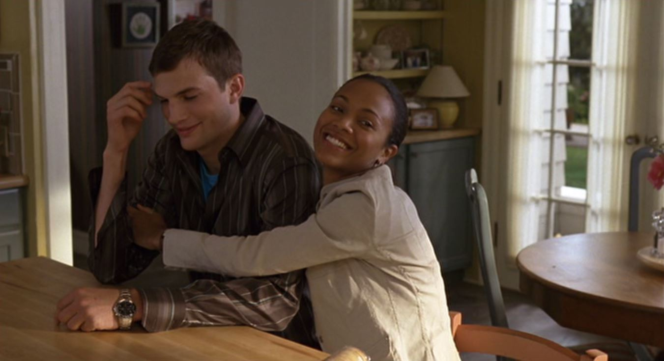 Ashton Kutcher and Zoe Saldana in Guess Who (2005)