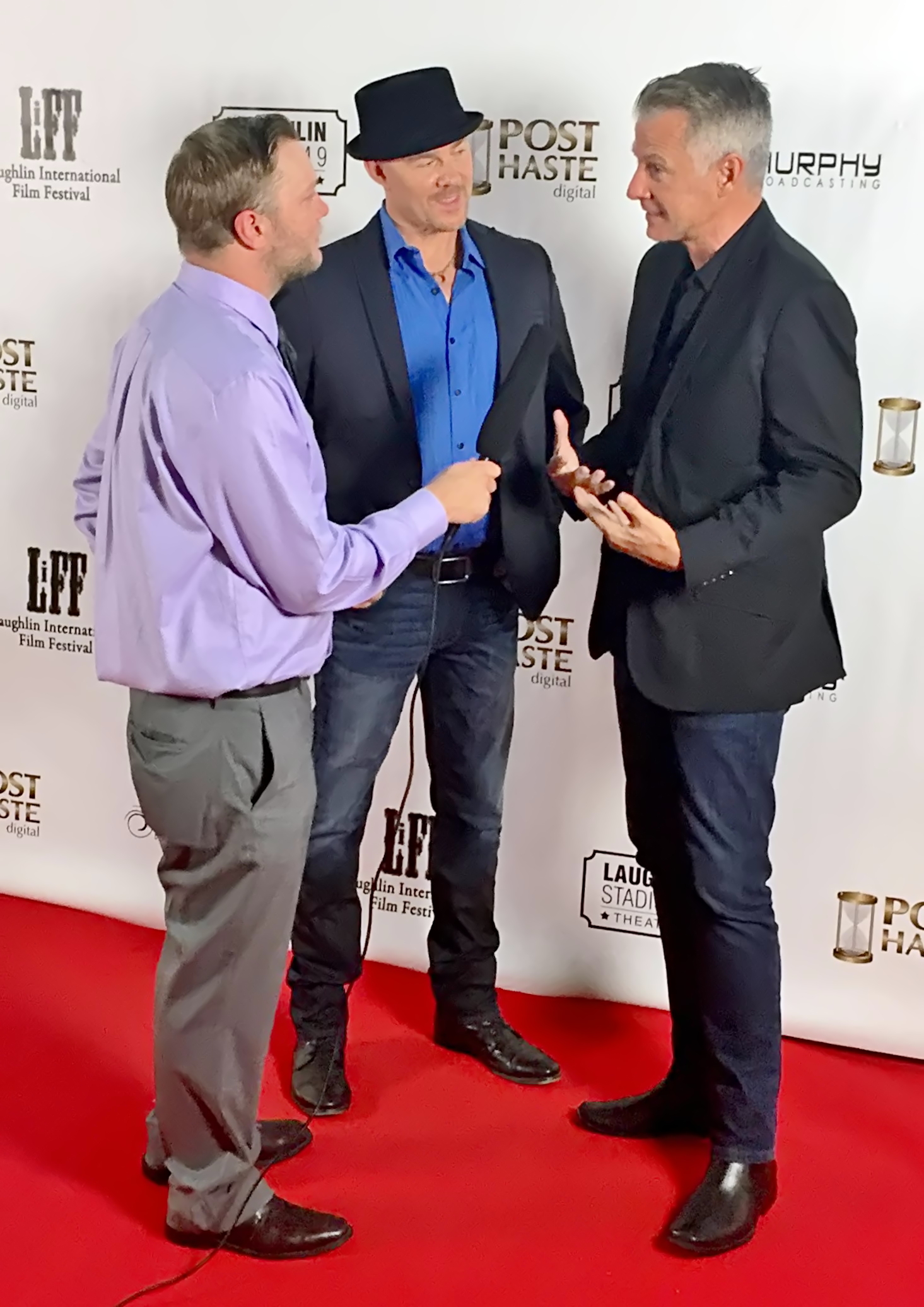 """Producer Michael Nicklin and musical artist Todd Schroeder at Laughlin International Film Festival where """"Lessons in Life' won 'Best Music Video."""""""