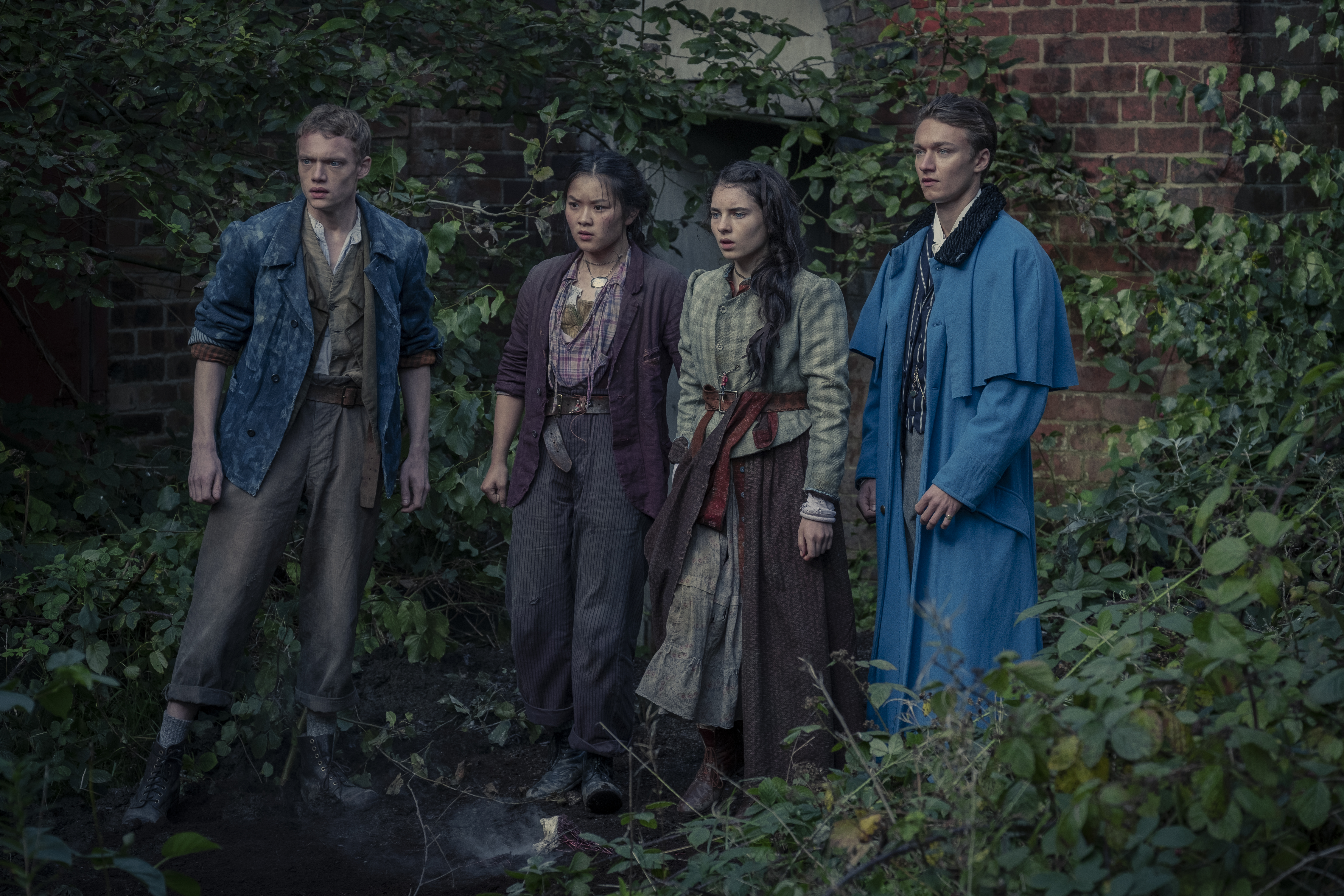 Thaddea Graham, Harrison Osterfield, Jojo Macari, and Darci Shaw in The Irregulars (2021)